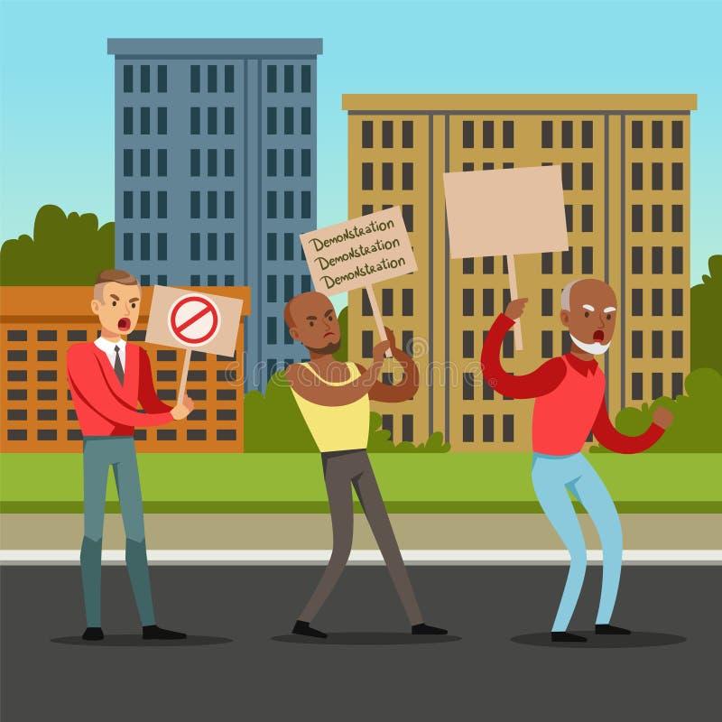 Groupe de personnes multiculturel avec des plaquettes réclamant leurs exigences vis-à-vis de fond de ville, vecteur plat de prote illustration de vecteur