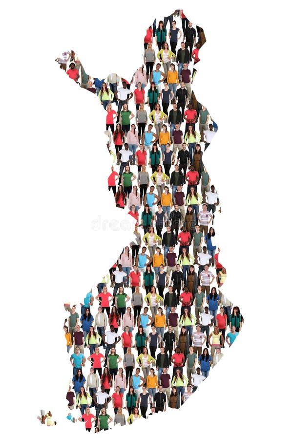 Groupe de personnes multiculturel de carte de la Finlande immigratio d'intégration images libres de droits