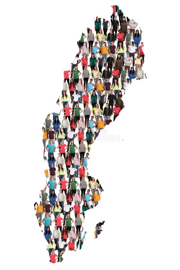 Groupe de personnes multiculturel de carte de la Suède immigration d'intégration photographie stock