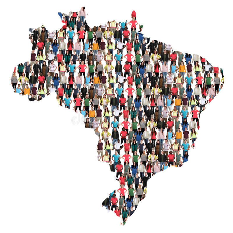 Groupe de personnes multiculturel de carte du Brésil Brésil intégration immi photo libre de droits