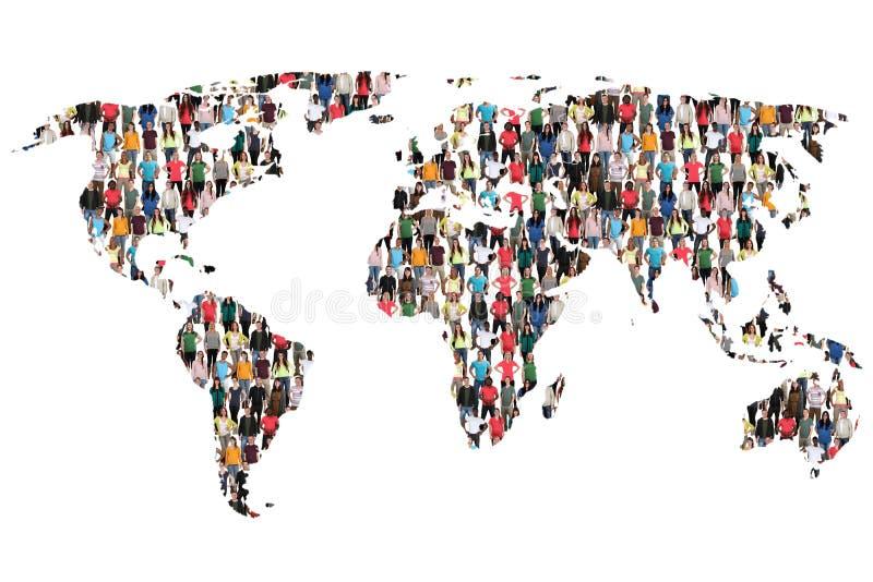 Groupe de personnes multiculturel de la terre de carte du monde immigr d'intégration images libres de droits