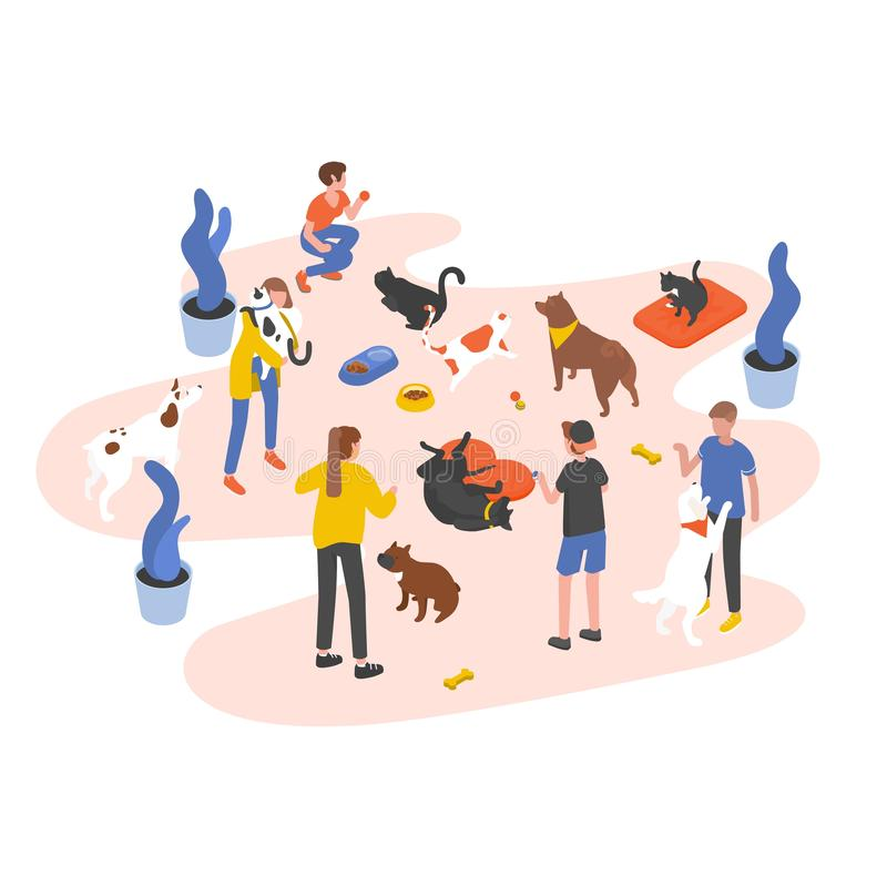 Groupe de personnes ou volontaires alimentant des animaux familiers et jouant avec eux dans le refuge pour animaux, la livre, la  illustration de vecteur