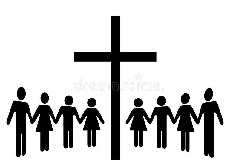 Groupe de personnes rassemblement de mains de prise autour d'une croix illustration de vecteur