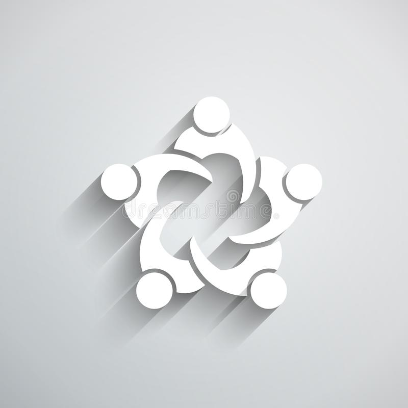 Groupe de personnes se réunissant en cercle style de papier du vecteur 3D illustration de vecteur