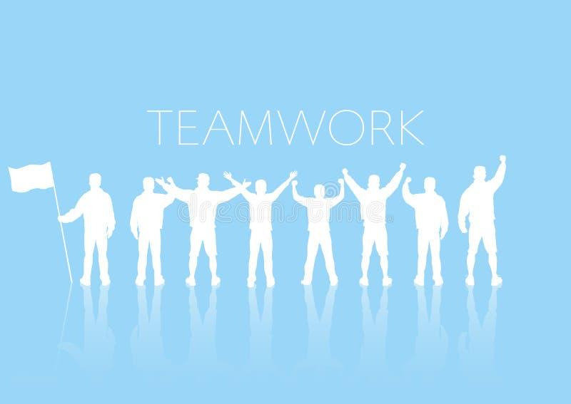 Groupe de personnes se tenant sur le fond bleu avec gai, concept de travail d'équipe d'affaires illustration stock