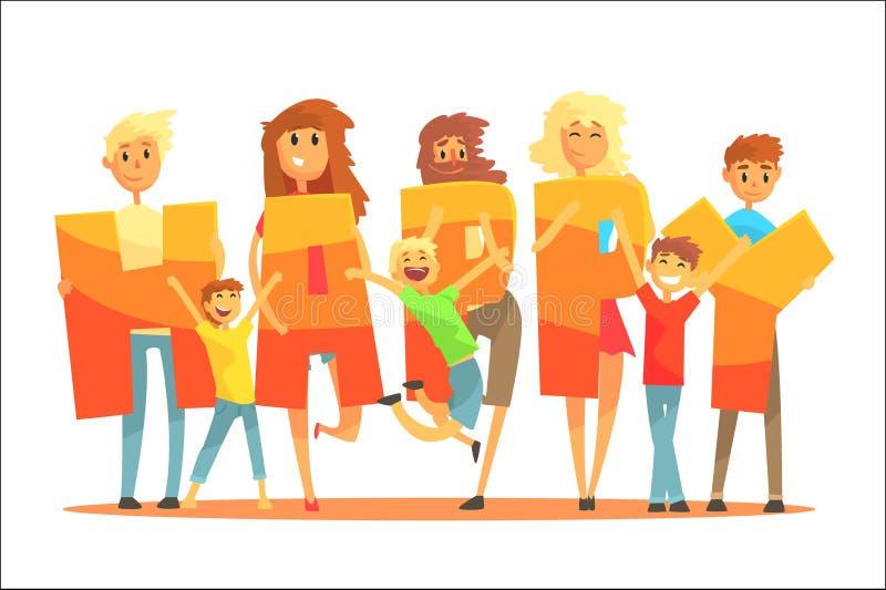 Groupe de personnes de sourire tenant l'illustration colorée de vecteur de bande dessinée heureuse de mot illustration libre de droits