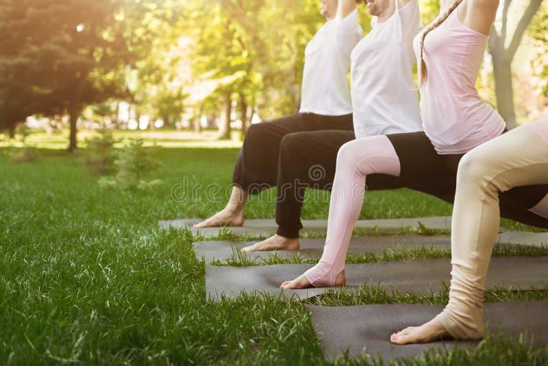 Groupe de personnes yoga de pratique en parc images stock