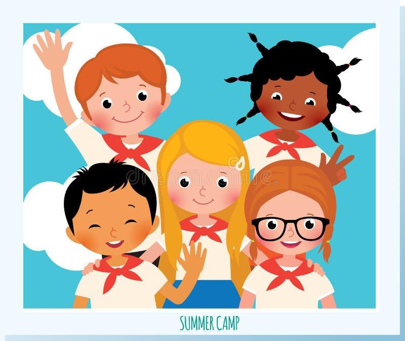 Groupe de photo d'enfants heureux de nationalitie différent illustration de vecteur
