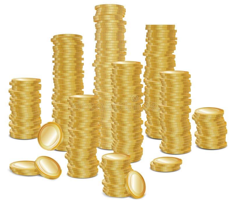 Groupe de pièces d'or illustration stock
