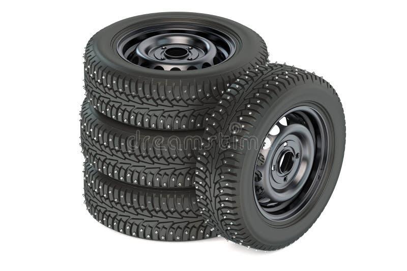 Groupe de pneus des véhicules à moteur d'hiver illustration libre de droits