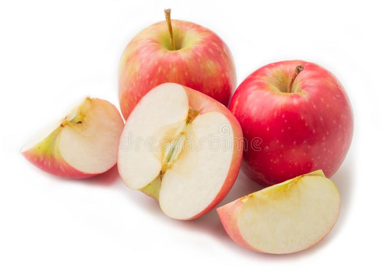 Groupe de pomme rouge sur le fond blanc photos libres de droits