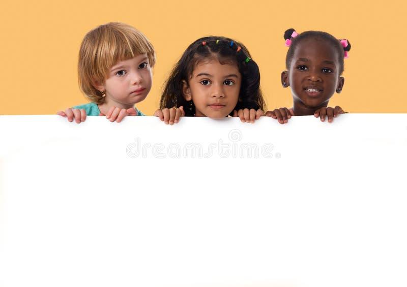 Groupe de portrait multiracial d'enfants avec le conseil blanc D'isolement images libres de droits