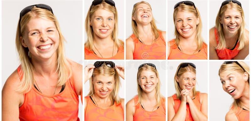 Groupe de portraits émotifs d'une jeune femme dans des lunettes de soleil images libres de droits