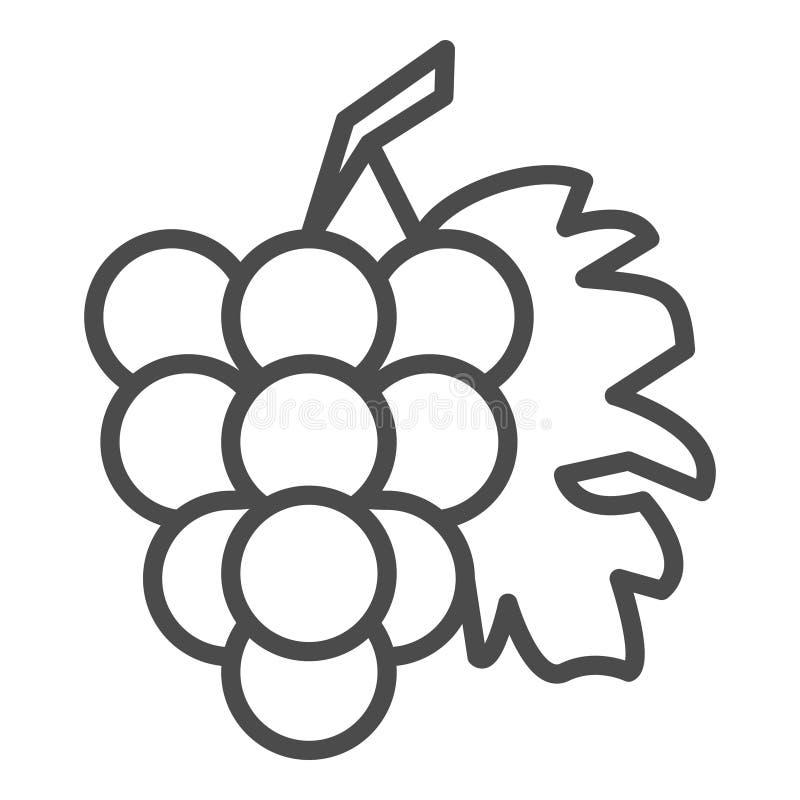 Groupe de raisins avec feuille icône de vecteur de schéma pour des applis et des sites Web de nourriture illustration stock