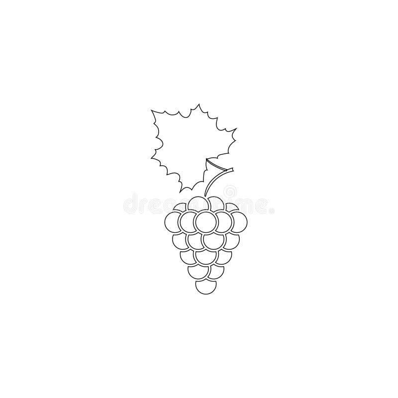 Groupe de raisins avec la feuille Ic?ne plate de vecteur illustration libre de droits