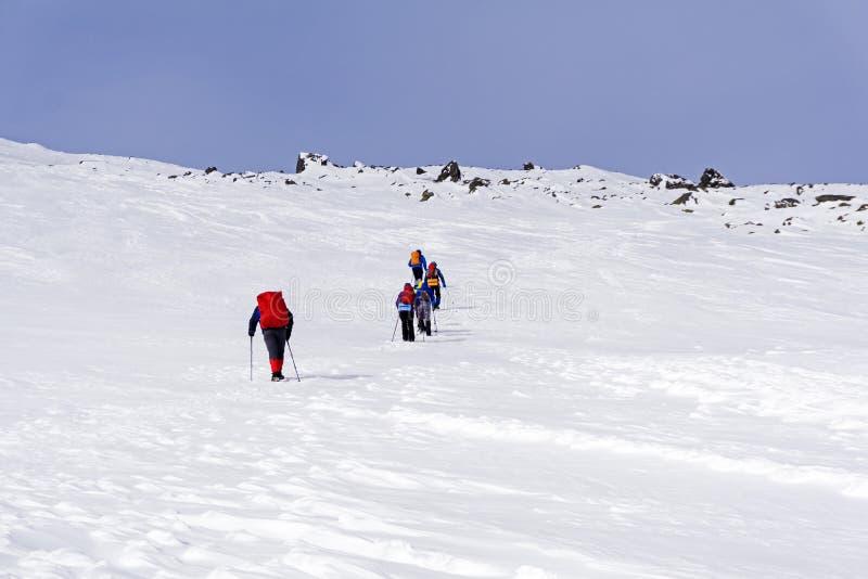 Groupe de randonneurs sur le paysage couvert de neige de pente de montagne photos stock