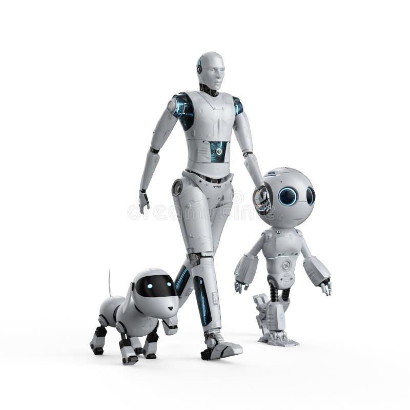 Groupe de robots d'automation illustration de vecteur