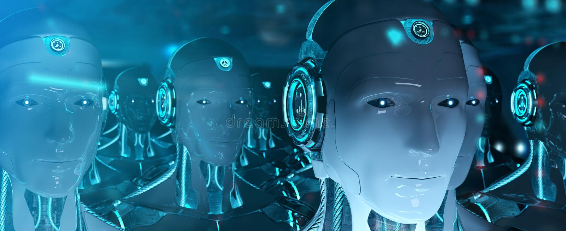 Groupe de robots masculins suivant le rendu de l'arm?e 3d de cyborg de chef illustration libre de droits