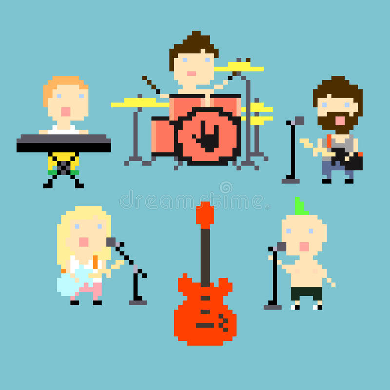 Groupe de rock de Pixel illustration libre de droits