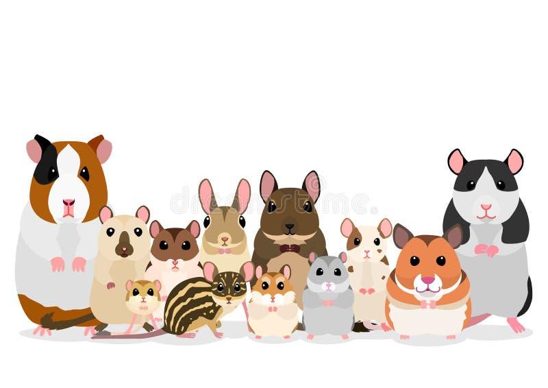 Groupe de rongeurs mignons d'animal familier illustration de vecteur