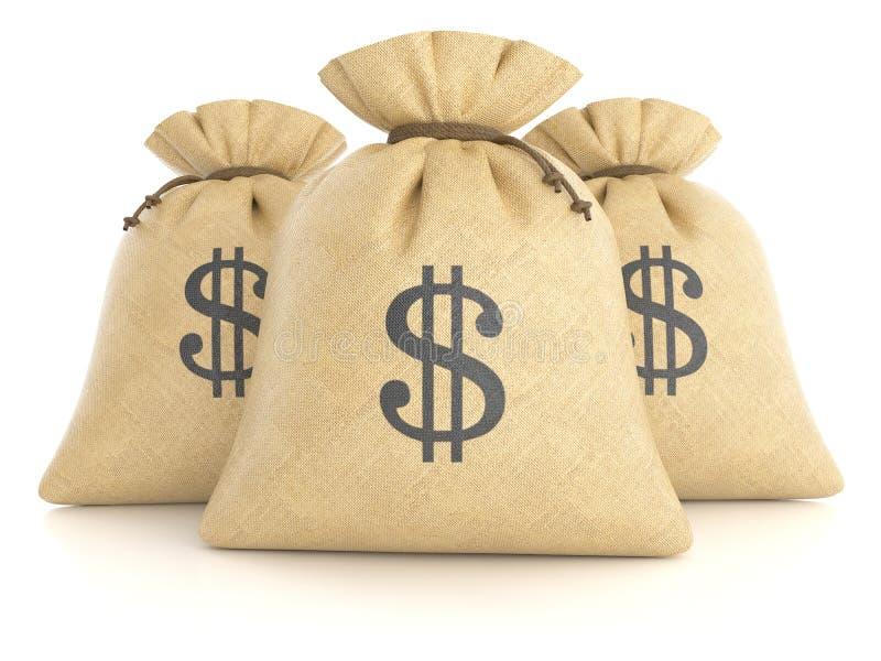 Groupe de sacs de chiffon avec des dollars illustration libre de droits