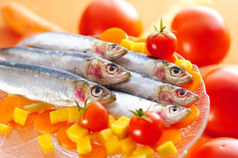 Groupe de sardines sur différents légumes photos stock