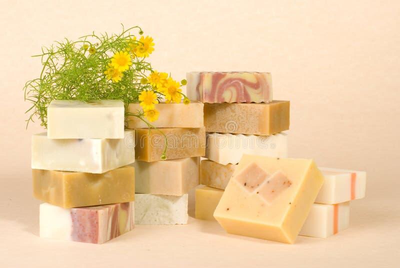 Groupe de savon fabriqué à la main avec du matériau de fines herbes image stock
