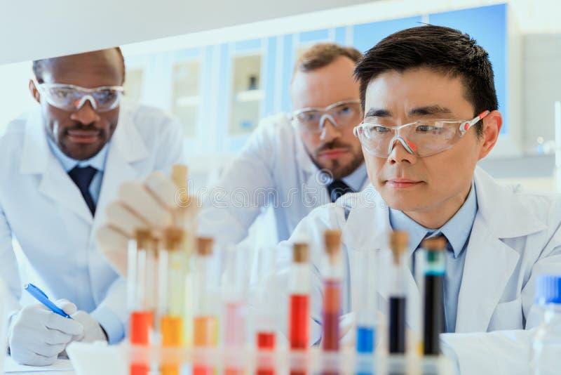Groupe de scientifiques dans des lunettes protectrices fonctionnant ensemble dans le laboratoire chimique photo stock