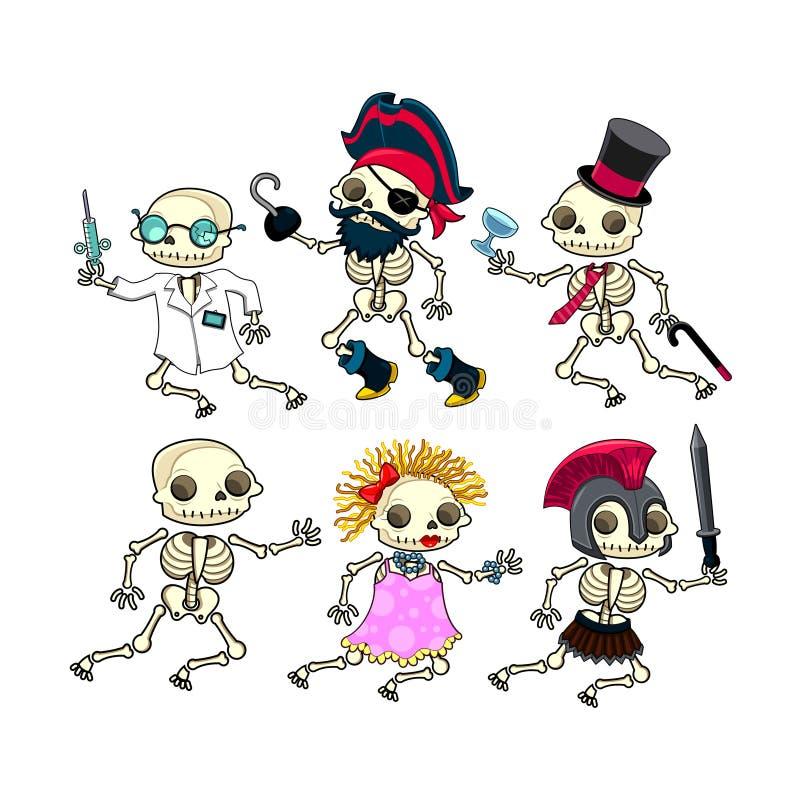 Groupe de squelettes drôles. illustration libre de droits