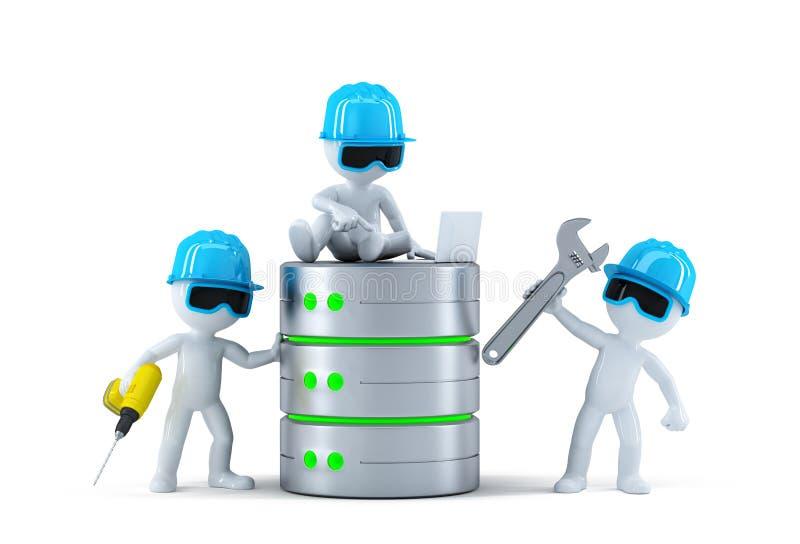 Groupe de techniciens avec la base de données. Concept de technologie illustration de vecteur