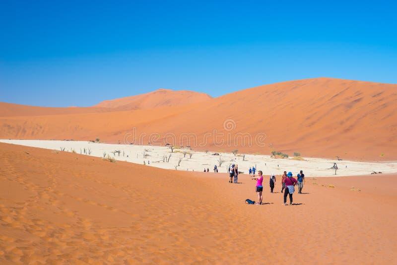 Groupe de touriste chez Sossusvlei, parc national de Namib Naukluft, destination de voyage en Namibie photographie stock
