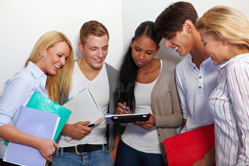 Groupe de travail dans le hall d'université photos libres de droits