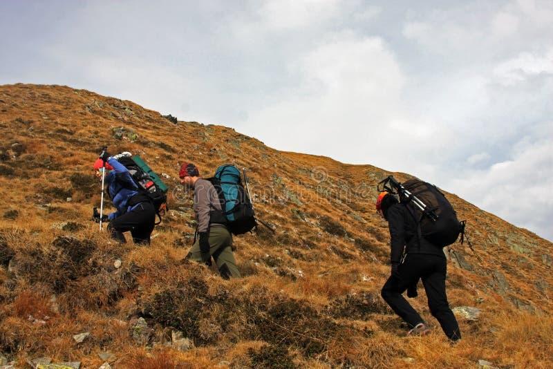 Groupe de trekking d'amis sur la montagne photo stock