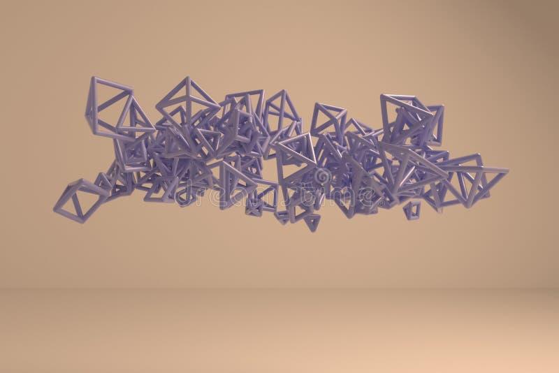 Groupe de triangle ou de place, vol, enclench?, pour la texture de conception et le fond rendu 3d illustration libre de droits