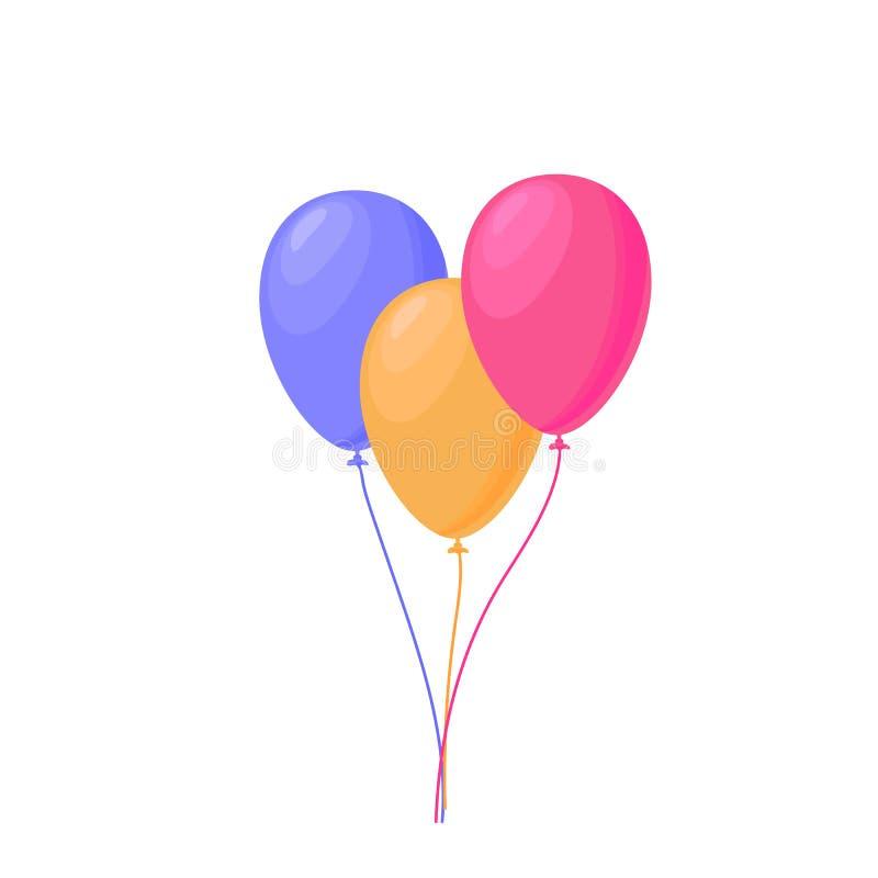 Groupe de trois ballons volants colorés de célébration sur le fond blanc Illustration de vecteur décoration pour la bannière de p illustration libre de droits