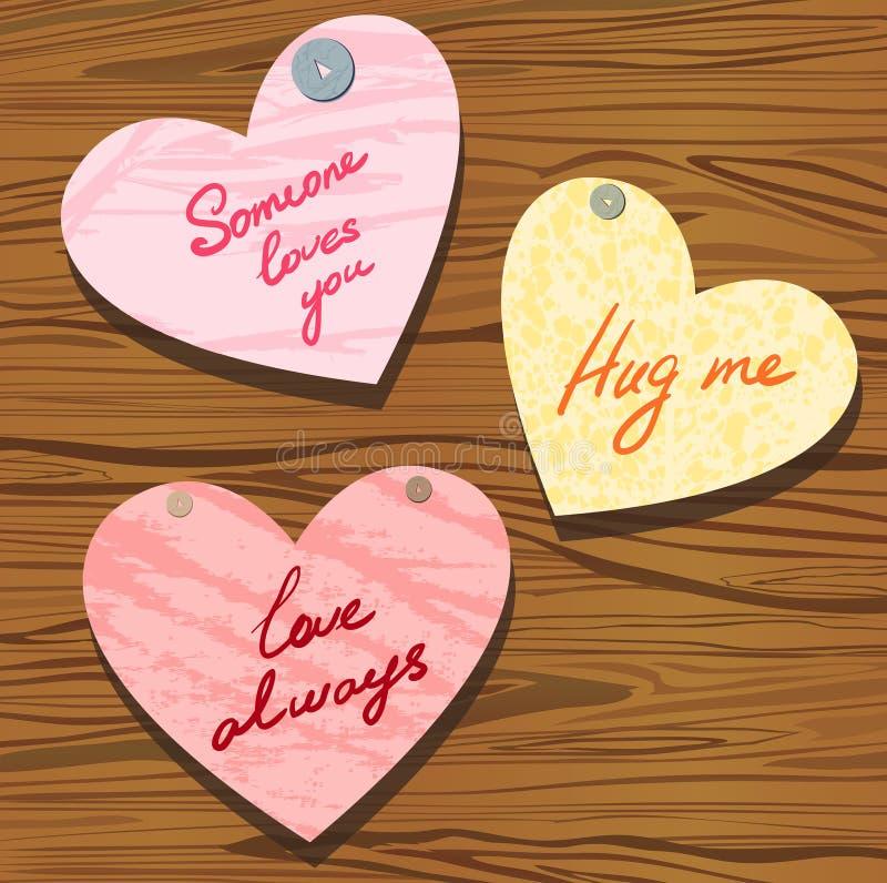 Groupe de valentine avec des souhaits illustration de vecteur