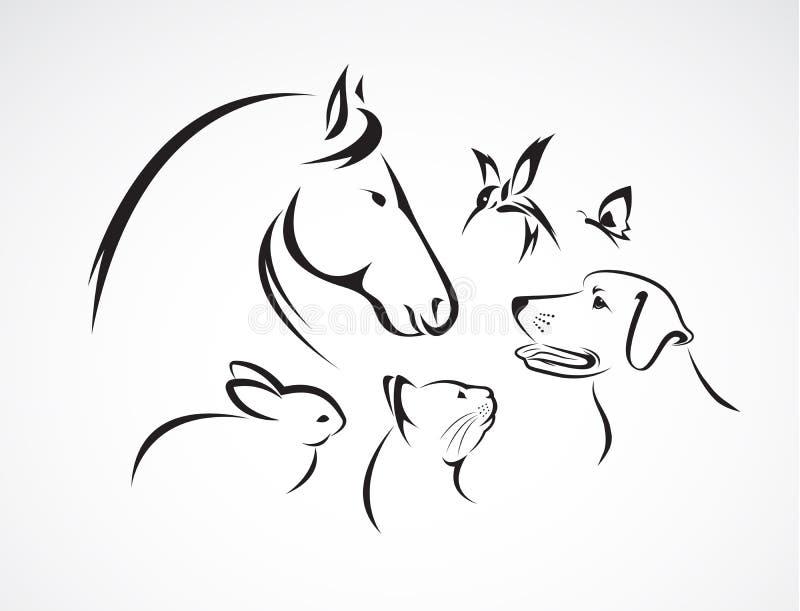 Groupe de vecteur d'animaux familiers illustration de vecteur
