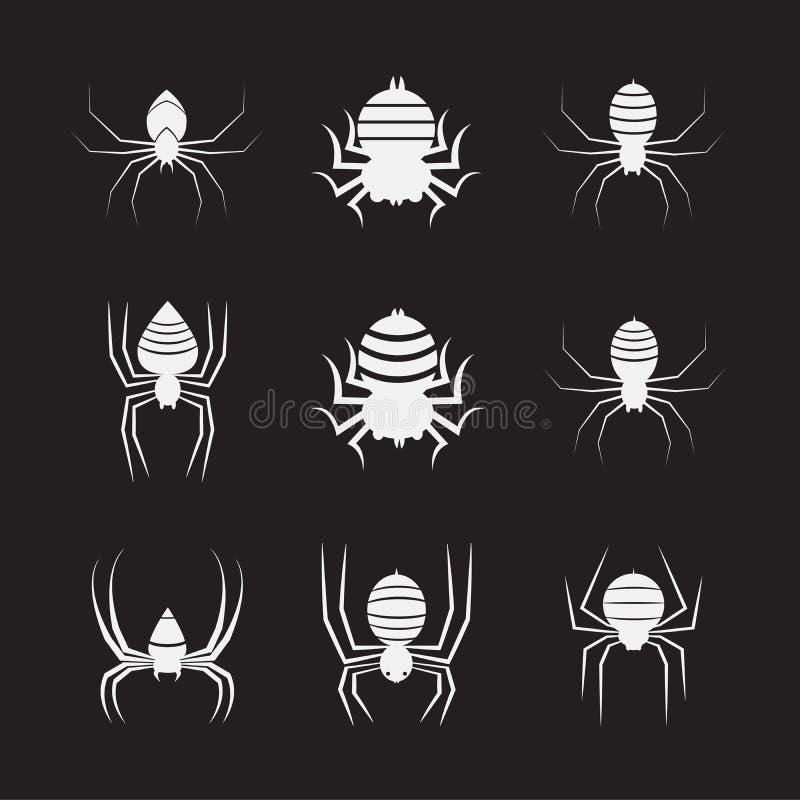 Groupe de vecteur d'araignées sur le fond noir insecte animaux illustration stock