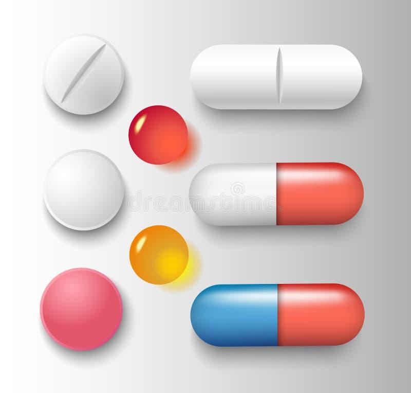 Groupe de vecteur de diverses pilules et capsules avec des ombres d'isolement sur le fond gris illustration de vecteur
