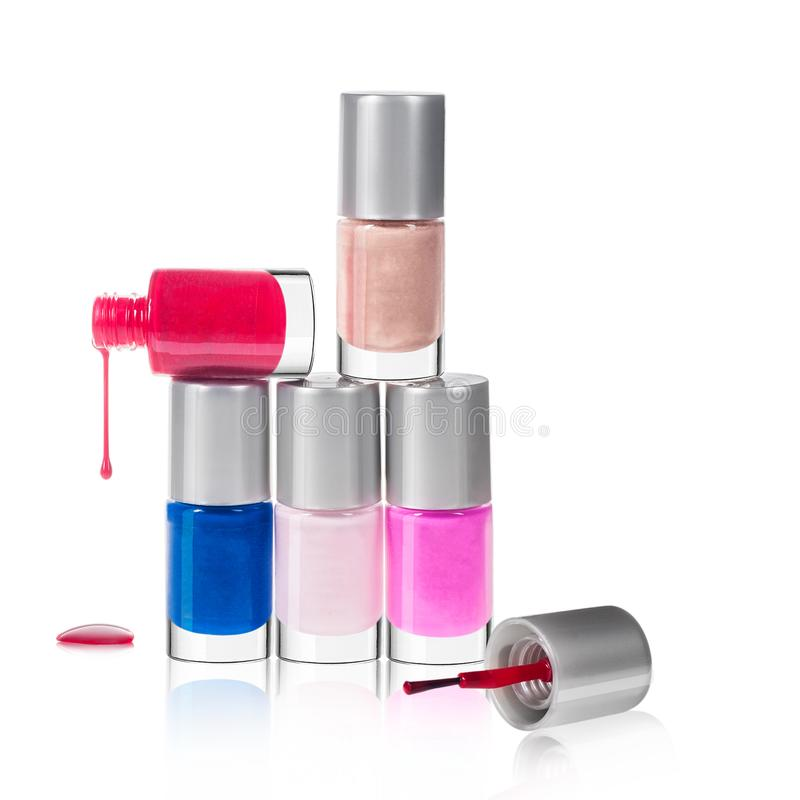 Groupe de vernis ? ongles lumineux d'isolement images stock