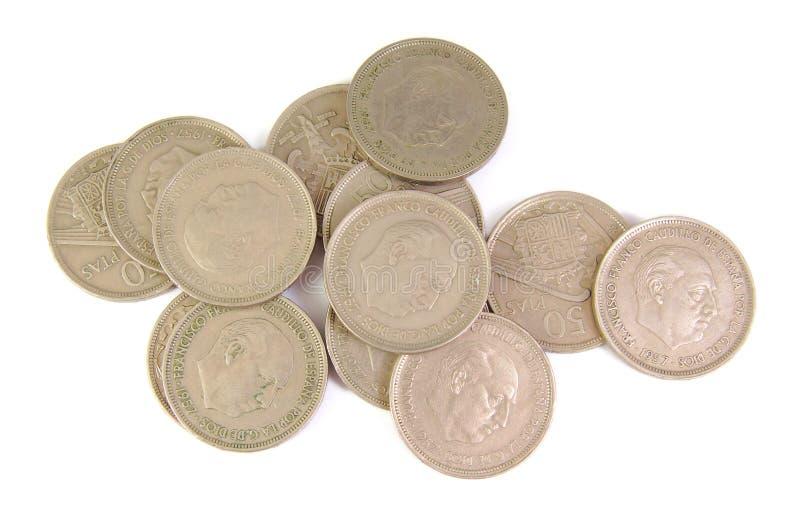 Groupe de vieilles pièces de monnaie espagnoles de la représentation de 50 pesetas photographie stock libre de droits