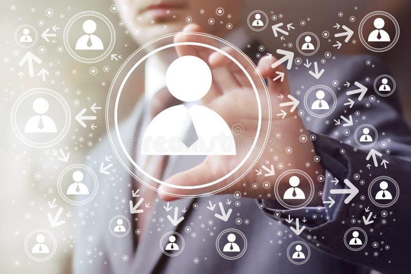 Groupe de Web d'interface de bouton de contact d'homme d'affaires illustration de vecteur