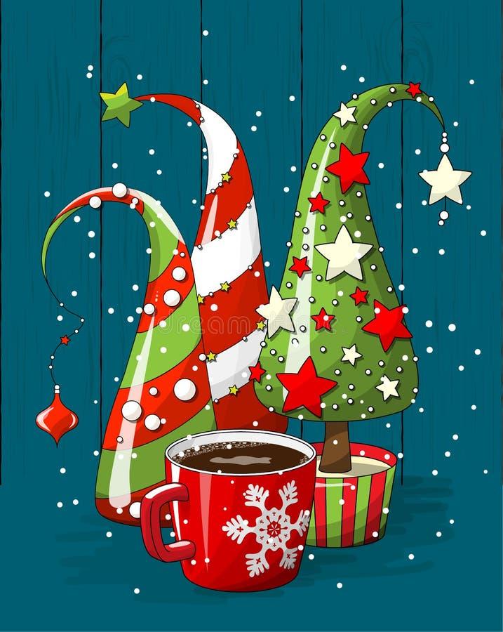 Groupe des arbres de Noël et de la tasse de café abstraits, motif de vacances, illustration illustration de vecteur