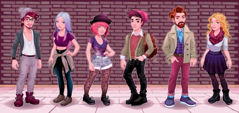 Groupe des jeunes avec le fond souterrain illustration libre de droits