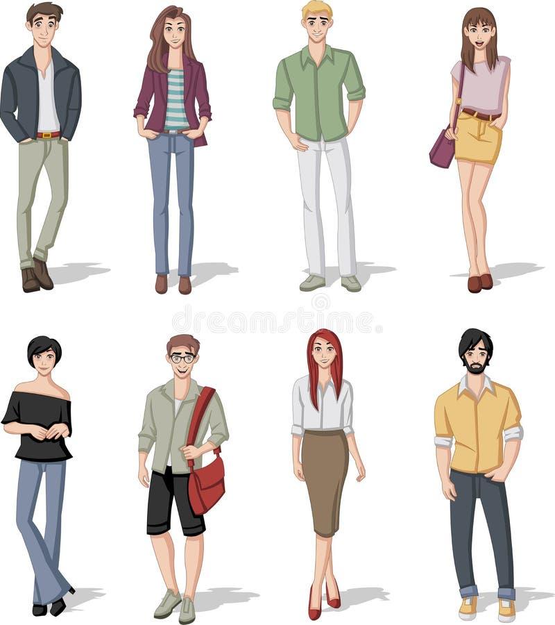 Groupe des jeunes de dessin anim de mode illustration de - Dessin de fille de mode ...
