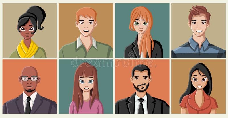 Groupe des jeunes de dessin animé de mode illustration libre de droits