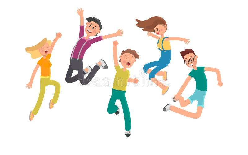 Groupe des jeunes gais sautant ensemble l'illustration plate de couleur illustration libre de droits