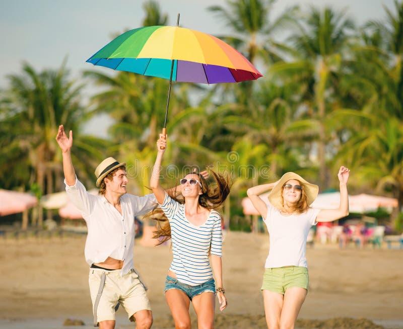 Groupe des jeunes heureux ayant l'amusement sur photo libre de droits