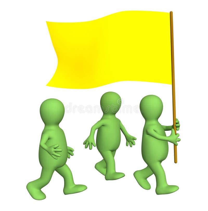 Groupe des marionnettes, étant assorti à un indicateur jaune illustration stock