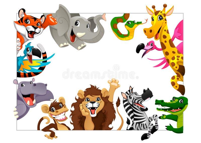 Groupe drôle d'animaux de jungle illustration de vecteur